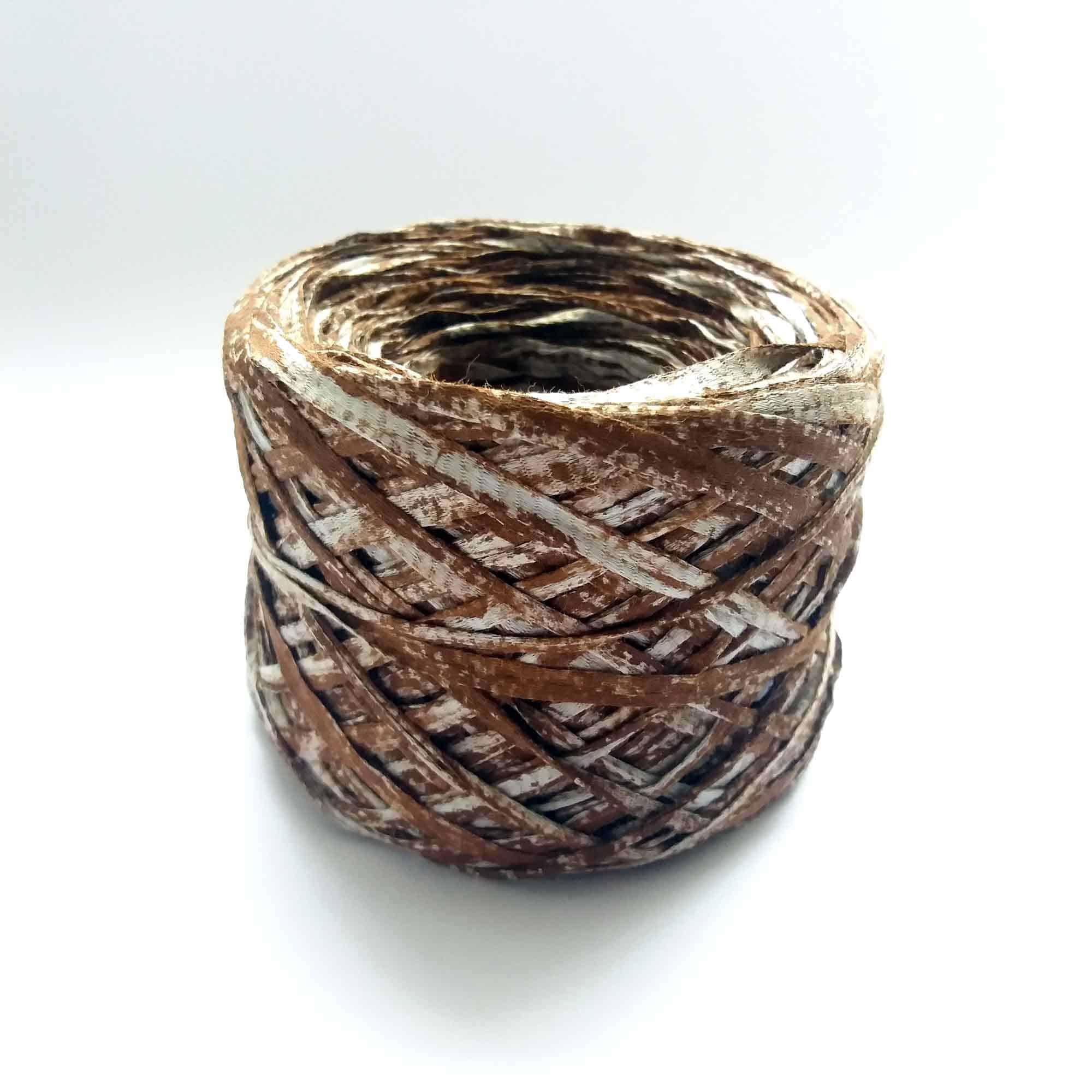 Leather Effect on Grey Cotton Ribbon Yarn – 50gr Yarn cake