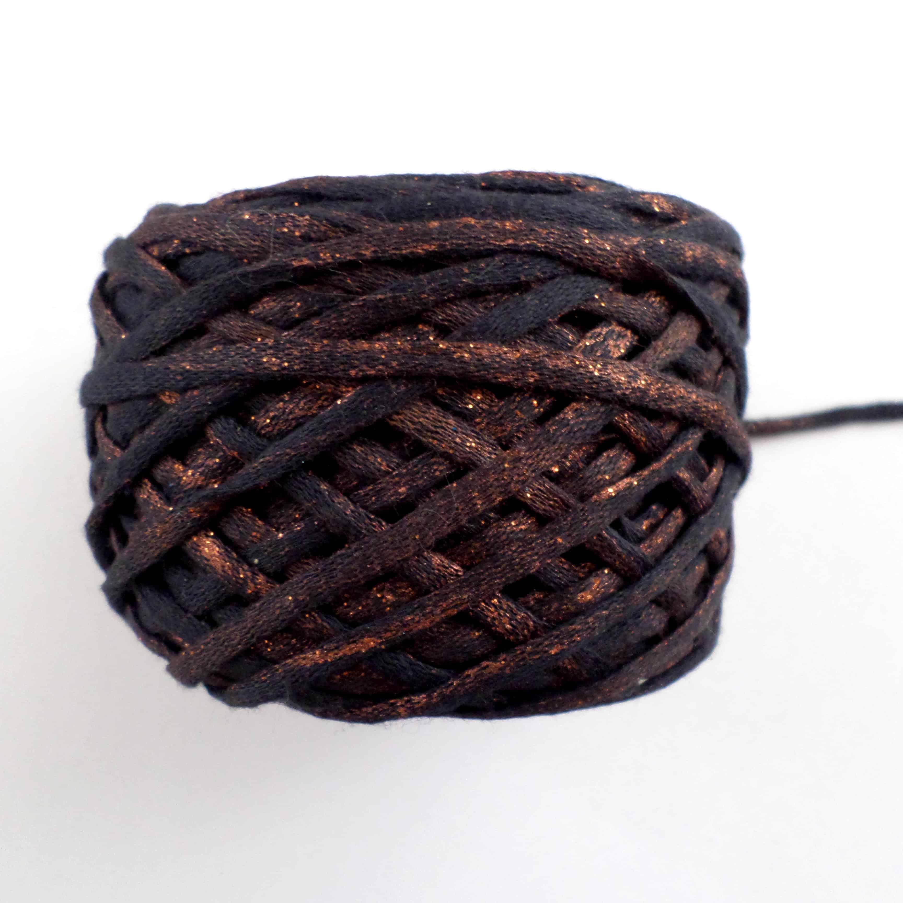 Bronze Shiny Effect Cotton Ribbon Yarn