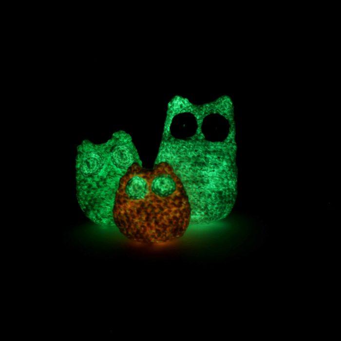 Glow in the Dark Amigurumi Owls